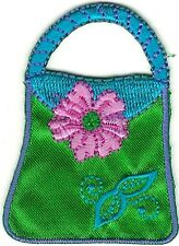"""2.25"""" Tall Green Turquoise Purse Bag Embroidery Patch"""