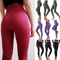 Seamless Leggings Womens High Waist Yoga Pants Stretch Fitness Gym Trousers AM