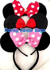 NEW 3 Minnie Mouse Headbands Black Plush Pink Red Polka Dots Shimmer Black Red