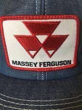 Massey Ferguson Patch Vint Denim Jean Cap Embroidery Mesh Snapback Trucker Hat