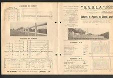 """LYON (69) USINE de BEON-LUYRIEU (01) CLOTURES en CIMENT Armé """"S.A.B.L.A."""" 1936"""