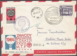 POLAND 1964.VI.20 Ballon SYRENA, Mail Cat.39a Start POZNAN - KORNIK landing