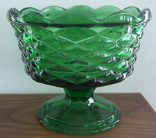 ⭐ON SALE!⭐ Vintage Green Glass Compote/Candy,Basket Weave Pattern Mint