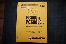 KOMATSU PC600 Wheel Loader Operation/Operator Maintenance Shop Manual guide 1999
