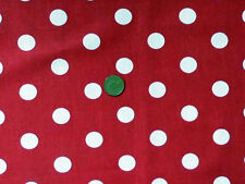 RED WITH CREAM 2cm SIZE SPOTS 100% HEAVY COTTON FABRIC F.Q.'S