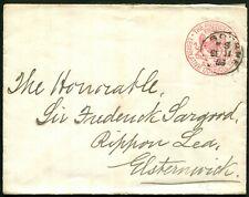 Victoria Postal Stationey Franks - 1896 (Sept. 11) Envelope to Elsternwick