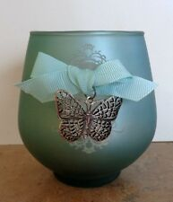 """GANZ BLUE FLICKER GLASS  CANDLE HOLDER W/BUTTERFLY CHARM 3 3/4""""NWT Retired"""