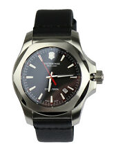 VICTORINOX OROLOGIO WATCH 241737 in acciaio inox argento pelle nero
