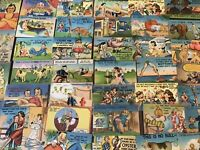 Nice Big Lot of 50 Vintage Linen Comic Humor   Funny Postcards-Unused-a-7
