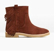 New Zara Kid Girl Leather Suede Fringe Ankle Boots Cotton Lining 11.5 Cowboy Zip