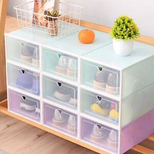 Plastic Shoe Storage Boxes Drawer Clear Organiser Container Stackable 33*23*14cm