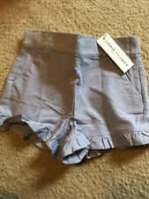 NWT Janie And Jack Girls Size 5 Chambray Ruffle Shorts Side Zipper Adjustable