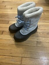 Sorel Caribou Waterproof Boots Baby Blue Leather Boots Women Size 11