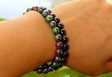 Beaded Bracelet Black and Rainbow 8 mm Pure Aura Set of 2 Hematite Bracelet,