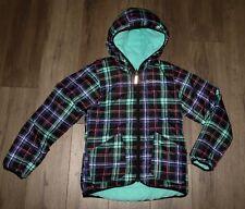 Girl's COLUMBIA Dual Front Reversible Hooded Fleece Insulated Jacket Coat Medium