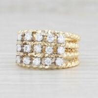 0.62ctw Diamond Cluster Ring 18k Yellow Gold Stacked Rope Bands Sz 5.5 Cocktail