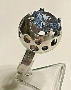 Silber Ring  mit blauen Stein 925er Silber Finnland Design