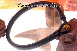 1AB-384 Custom Made Kangaroo Leather Tigers Eye New Men ANKLET Bracelet
