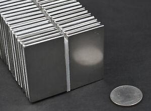 "2 pcs MAGNETS 50x30x3mm (2"" x 1 1/4 x 1/8) NICKEL COATED NEODYMIUM N40 US SELLER"