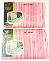 VTG Double Bed Sheet Set Fashion Manor Pink White Stripes Fitted & Flat *NEW*