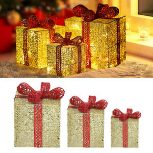 3 Metalic Christmas Light Up Sparkle Gift Boxes Outdoor Present Decoration Cases
