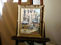 Latini Artist Italian Mid Century Original Oil Abstract Street Scene