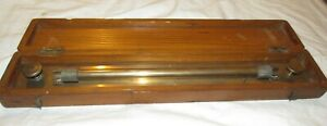 Boxed brass rolling rule by UWW old drawing instrument ruler old tool