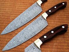 White Deer Damascus Chef Knife Rose Wood Handle with Rain-Drop Pattern Forged