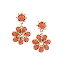 QVC Robert Rose Goldtone Coral Floral Drop Earrings