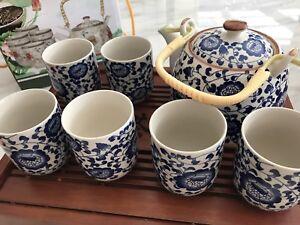 New Teapot Set Gift Present 7pcs Chinese/Japanese Ceramic Tea Cups Filter Flower