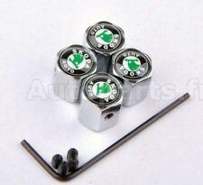 KIT 4 Bouchon de valve Antivol - SKODA - INOX - TUNING - INSIGNE LOGO -