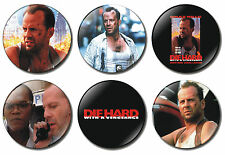 6 x Die Hard 3 Movie 32mm BUTTON PIN BADGES Bruce Willis With A Vengeance