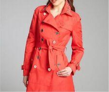 Sam Edelman Women's Cotton Blend Studded Collar Lorissa Trench Hibiscus Red S
