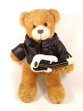 "Plushland Brown Teddy Bear Rocker 8"" Plush Guitar Black Jacket Stuffed Animal"