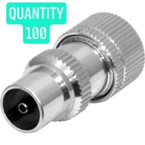 Quality 'IEC' Nickel Male Coax Plug TV Connectors for RG6 CT100 - PACK of 100