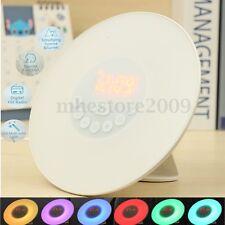 Wake-up Light Sunrise Alarm Clock LED FM Radio Bedside Night Lamp 5 Colours ABS