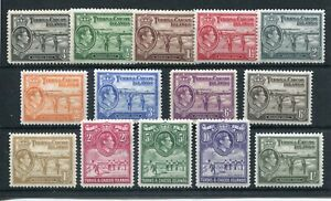 TURKS & CAICOS 1938-45 TO 10/- SG194/205 HINGED MINT