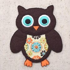 Large Brown Owl/Bird Retro Vintage Daisy - Iron on Applique/Embroidered Patch