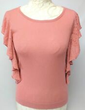 MONSOON Coral Knit Frill Women Top Small Cap Sleeve Viscose Cotton Blend Casual