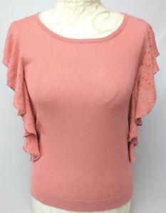 MONSOON Sleeveless Knit Top 8 10 Coral Viscose Cotton Ruffle Casual Work Winter