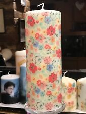 LIMITED! CATH KIDSTON MEWS DITSY HAND DECORATED PILLAR CANDLE 90hrs 18x6.5cm