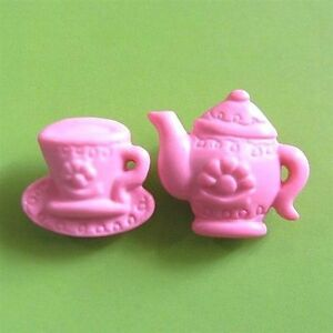 7 set Teapot Tea Cup pot Novelty Sewing Buttons Scrapbook Pink K521
