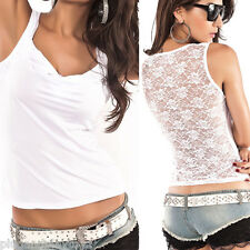 Floral White Lace Stretch Racer Back Cami Shirts Slimming Mesh Tank Top T Shirt