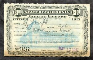 t016 - CALIFORNIA 1917 State Angling License. Fishing. $1 Revenue Value