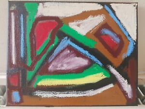 Small Abstract Oil Painting Expressionist Art Nature - L ALLEN - Gang Hut