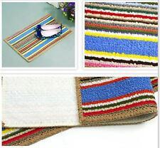 53 x 34 Colorful Stripes Pad Rug Shaggy Door Mat Carpet Decor Bathroom Kitchen