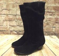 Womens Foot Cushion Black Suede Zip Up Mid Heel Knee High Boots UK 4 EUR 37