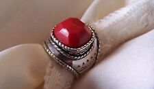 "Silpada, Silver Sterling Pure WOW Factor Red Coral, ""The Samba""  Size  9  MINT!"