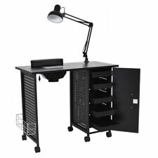 Manicure Nail Desk Table Station Beauty Spa Salon 5 Drawer Lamp Light Vent Black
