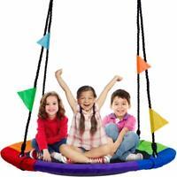 Tree Swing in Multi-Color Rainbow Kids Indoor/Outdoor Round Mat Saucer Swing